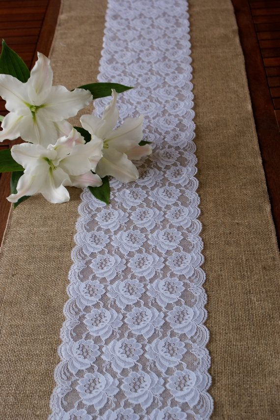 Custom made wedding table runner lace and por Littlewhiteboutique
