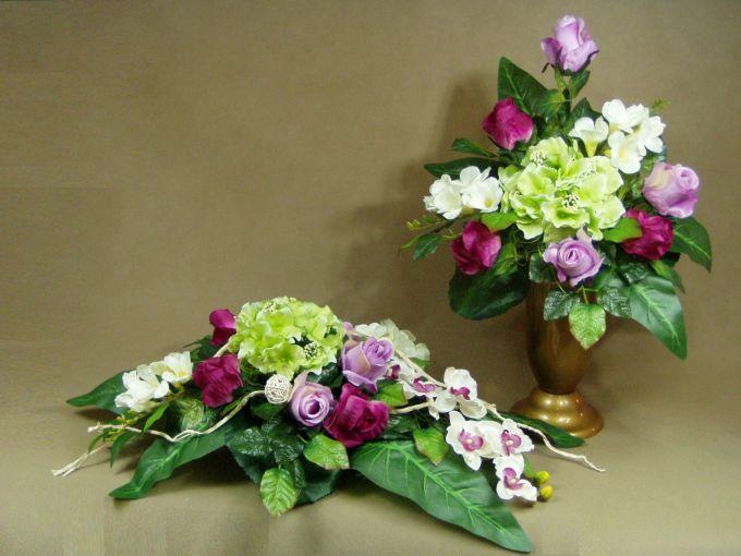 HORTENSJA stoczyki RÓŻE 1064.2A stroik na grób + BUKIET KOMPLET Kompozycje kwiatowe Marko604