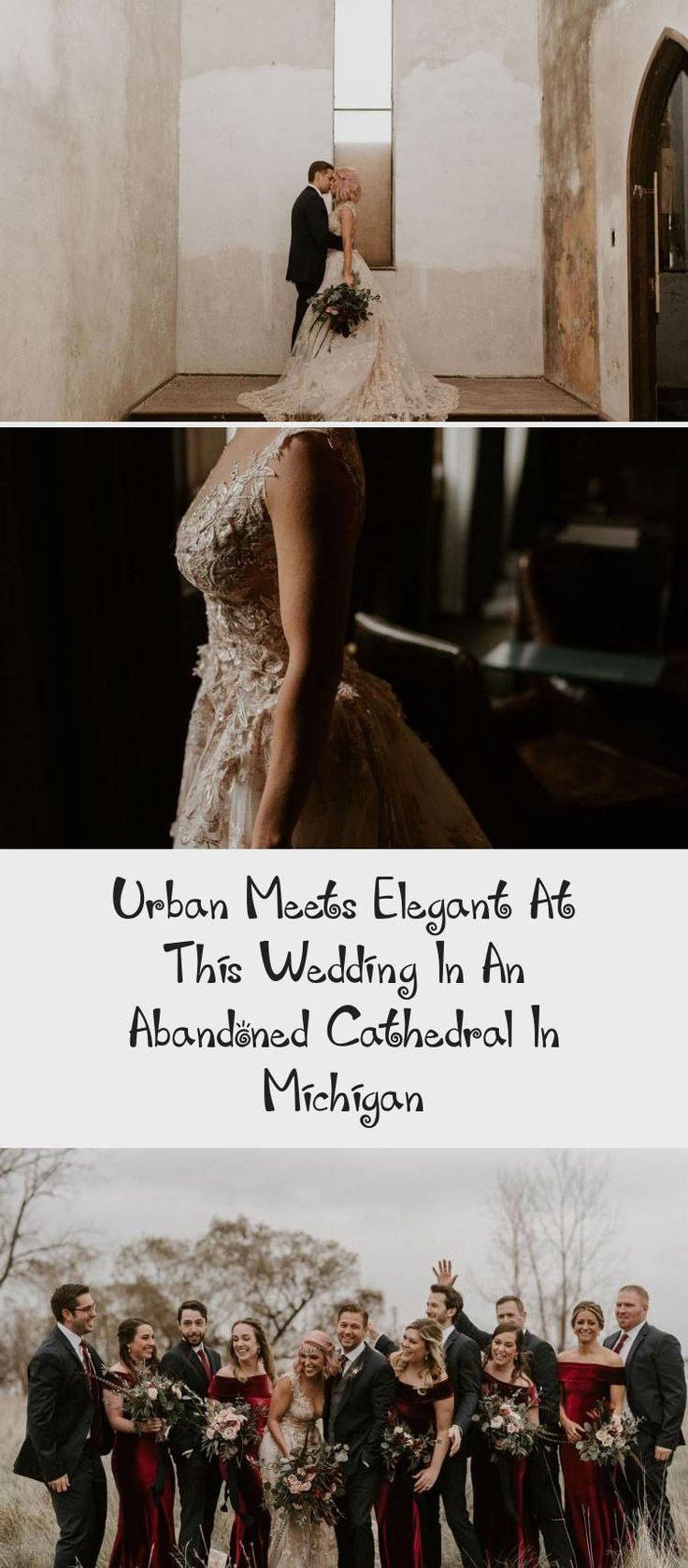 Urban Meets Elegant at this Wedding in an Abandoned Cathedral in Michigan - Green Wedding Shoes #BridesmaidDressesBlue #BridesmaidDressesWithSleeves #CasualBridesmaidDresses #AfricanBridesmaidDresses #BridesmaidDressesStyles