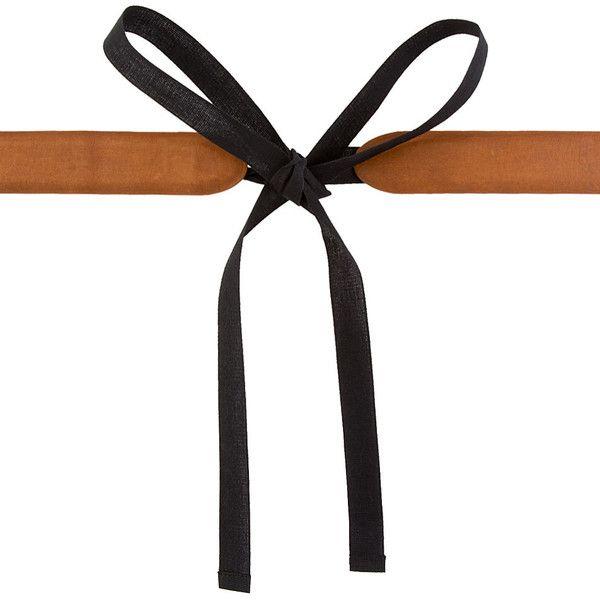maison martin margiela brown leather and black textile tie