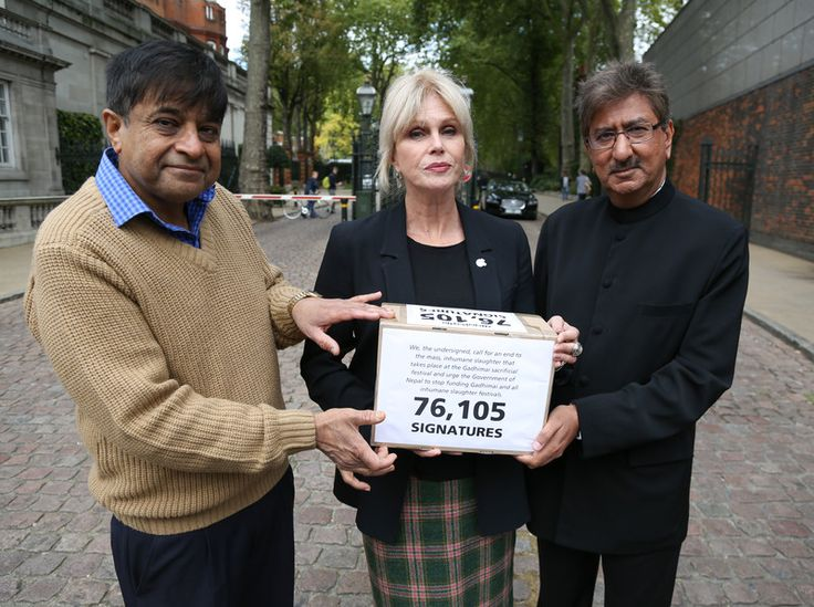 Nitin Mehta, founder of the Young Indian Vegetarians, Joanna Lumley, actress and Compassion Patron, and Anil Bhanot, managing director of Hindu Council UK presented 76,105 signatures to the Nepalese embassy