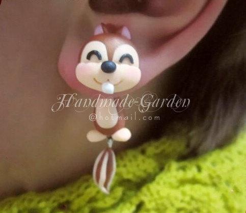Smiling Squirrel TwoPart Earrings MADETOORDER by HandmadeGarden, $16.00