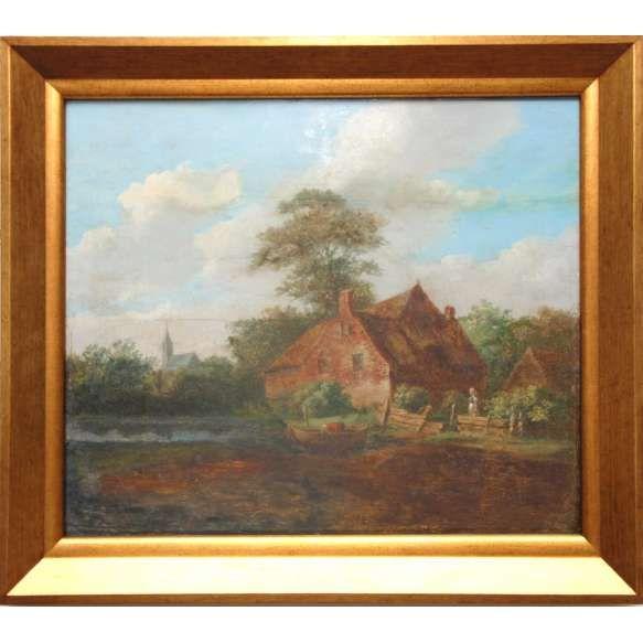 Wilhelmus ou Willem Troost<br /> MEDIDAS: 34 X 39 CM<br /> TEMA: vila holandesa com barco e camponeses.<br /> TÉCNICA: Óleo sobre madeira<br /> CONSERVAÇÃO:Travões para contenção de dilatação da madeira no verso.<br /> MOLDURA: nova.<br /> Cotação internacional media: (vide fotos)<br /> <br /> BIOGRAFIA: Willem Troost nasceu em 1812 em Arnhem. Sua formação artística que recebeu em Haia, onde frequentou a academia em 1839 e 1840 e recebeu aulas de pintura de Andries Schelfhout…