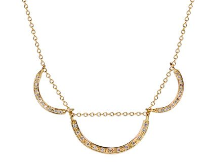 18K Gold Triple Curve Pendant with Diamonds