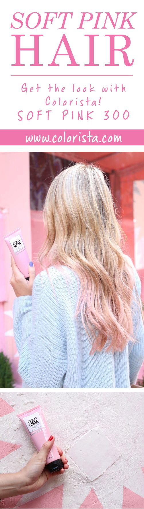 L'Oréal Paris Colorista Semi Permanent Hair Color allows you to play with COLOR YOUR WAY. Go all out or flirt with color by customizing your look and transforming your style. Try it in Soft Pink 300.