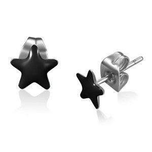 Black Resin & Stainless Steel Men's Star Stud Earrings 7mm #mensfashion #mensjewellery