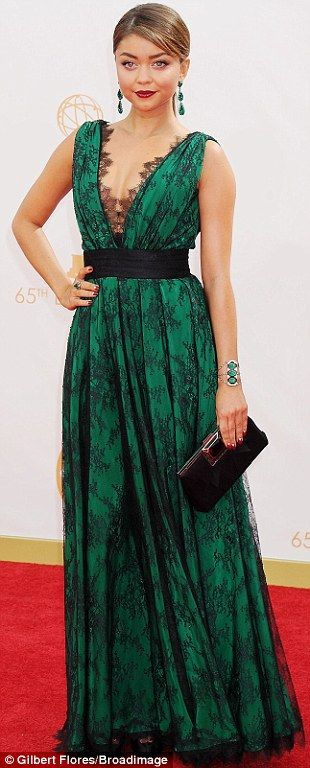 Green goddesses: Sarah Hyland, Anna Chumsky and Nancy O'Dell all plumped for floor length green gowns