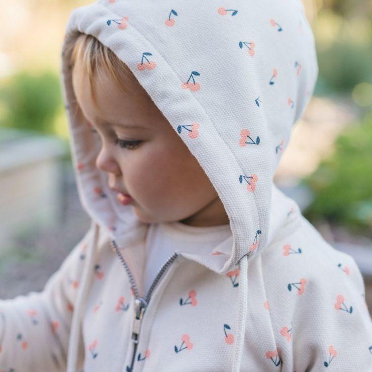Organic Sweatshirt Hoodie | Cherry Print