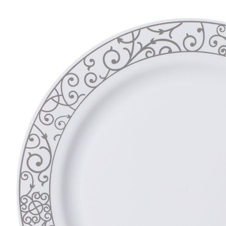 save on low cost venetian white silver high end plastic dinner plates for fancy showers holiday catering u0026 discount weddings on a budget