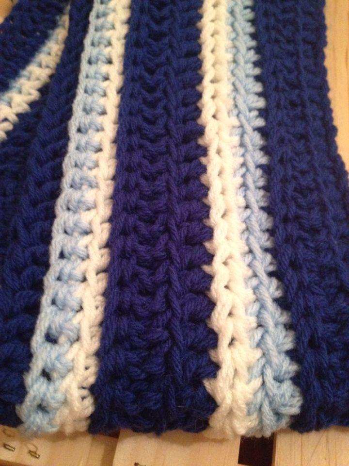 Kansas City themed treble crochet scarf