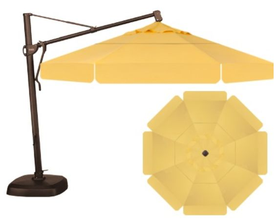 Octagon Cantilever Umbrella Customized With A Double Wind Vent And Valence.  The Canopy Fabric Color Is Buttercup, The Frame Is Bronze, And We  Accessorized ...