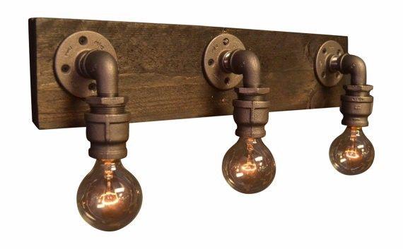 Boerderij 6.27-4 teruggewonnen hout- industriële industriële chique- badkamer verlichting armatuur- wandlamp- vintage licht