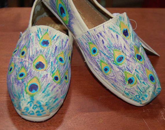 Purple Peacock Custom TOMS  shoes included by PurpleLizardStudio, $108.00
