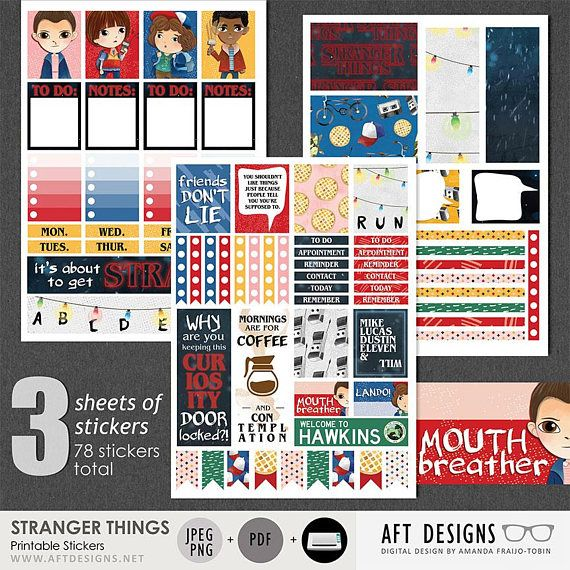 Stranger things digital printable stickers for happy for For planner