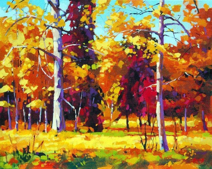 Mike Svob Aspen and Fir Acrylic on Canvas 16 x 20 in.