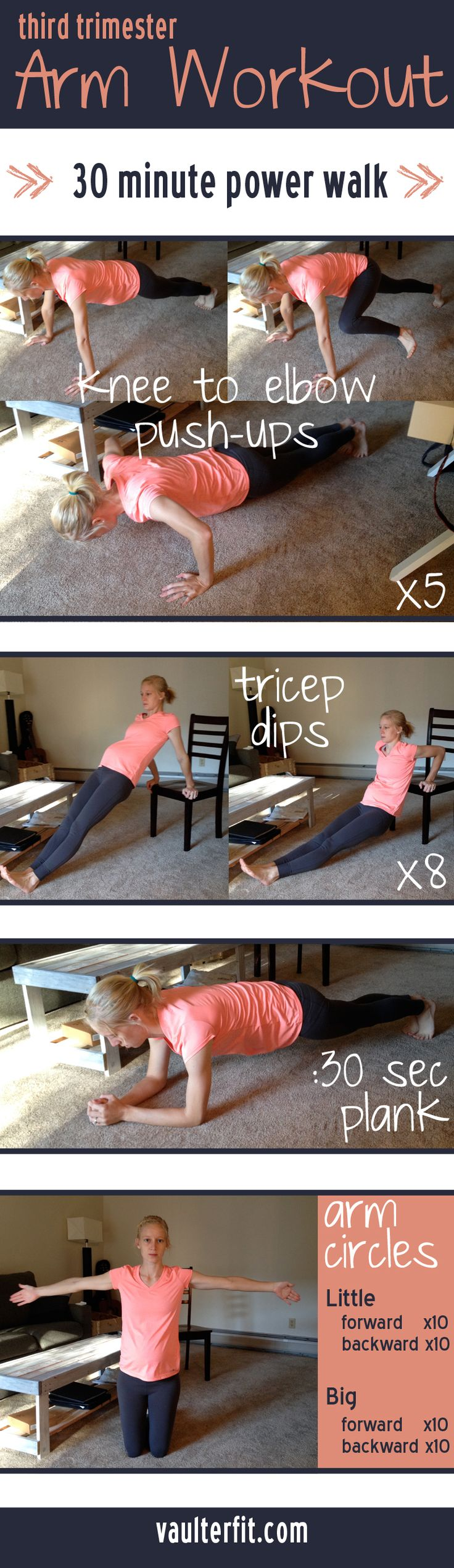 Exercise during pregnancy is important! Get your arms ready for that new baby with this third trimester arm workout from Vaulter Fit!