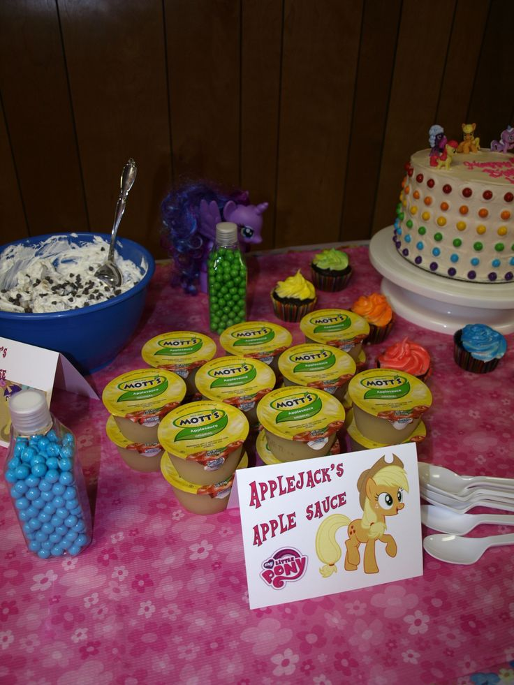 My Little Pony party food ideas--note: print out or use stickers of apple jacks on top