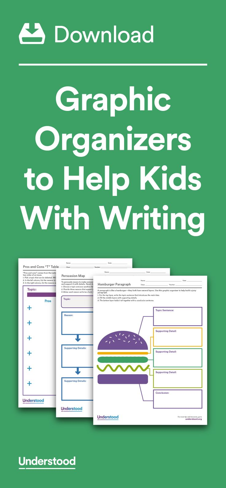 Graphic organizers are simple yet powerful tools that can help kids with dysgraphia, executive functioning and other issues that can cause trouble writing. A graphic organizer not only helps break an assignment into smaller steps. It also can help kids organize their thoughts in a very visual way.