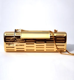 Gold Coloured Box Clutch With Chain Strap