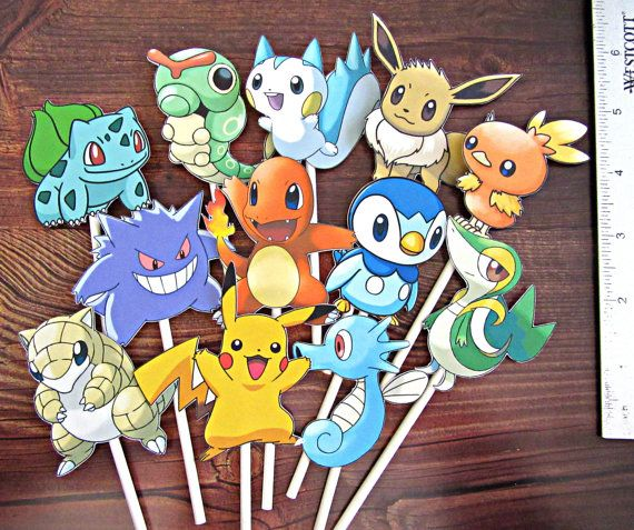 12 Pokemon Cupcake Toppers by SoSweetMemories on Etsy