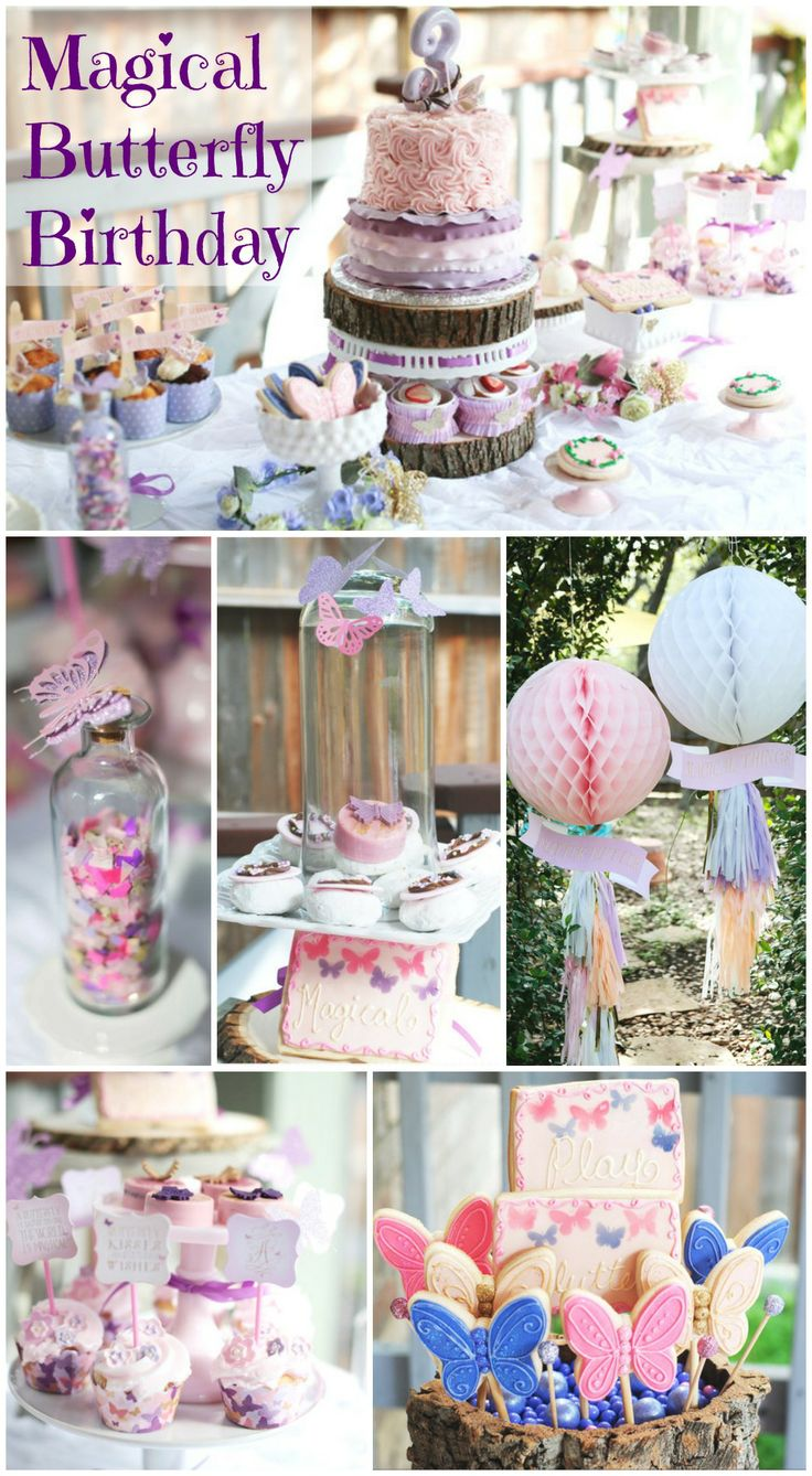 Talk about a magical woodland butterfly girl birthday! What a beautiful butterfly birthday cake and desserts. See more party ideas at CatchMyParty.com. #girlbirthday #butterflies