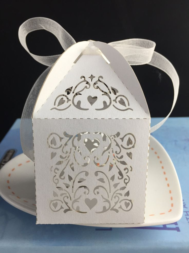 100pieces free shipping ivy vine flower white color Laser Cut Wedding Boxes/Wedding Favor boxes/Wedding Gift Packaging Boxes with ribbon by KJdecoration on Etsy