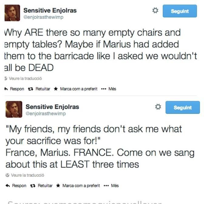 Hahaha. Poor Enjolras was scowling at Marius from heaven as he was nonsensically crying about his lost friends. I still love this song though. XD