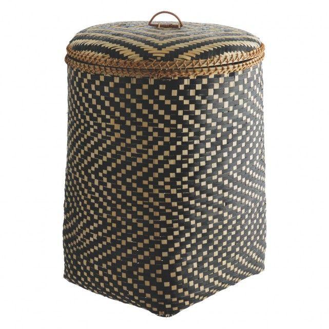 IDAHO Bamboo patterned laundry basket with lid | Buy now at Habitat UK