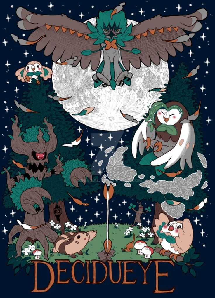 Decidueye and family by hinivaal on @DeviantArt