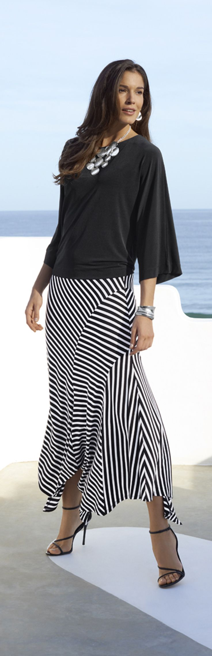 Chico's Knit Kit East West Top and Stripe Avery Maxi Skirt.