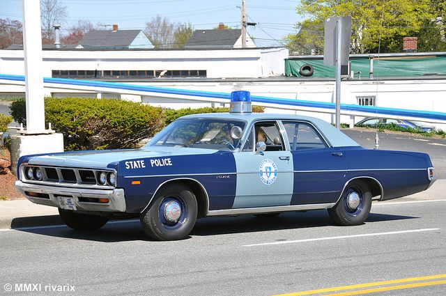 Vintage Massachussets State Police car. One of the ugliest designs to ever be painted on a police car, except maybe the 1960's NYPD cars.