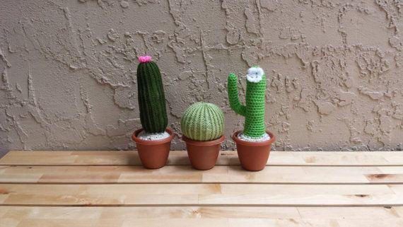 Amigurumi Cactus Plant Fake Plants Potted by KingStitchStudios