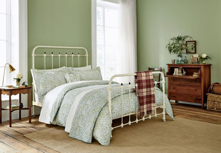 Willow Bough Sage Green Double Duvet duvet cover by Morris