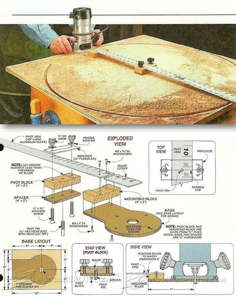 Router Circle Cutting Jig - Router Tips, Jigs and Fixtures | WoodArchivist.com