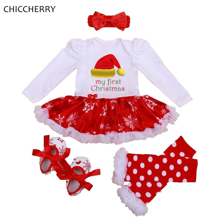>> Click to Buy << My 1st Christmas Costumes for Children Kids Lace Romper Dress Headband Leg Warmers Crib Shoes Toddler Girl Christmas Outfits #Affiliate