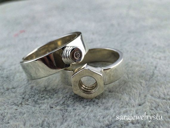 Screw Cap And Nut Couple Rings in any Material by sarajewelrystu