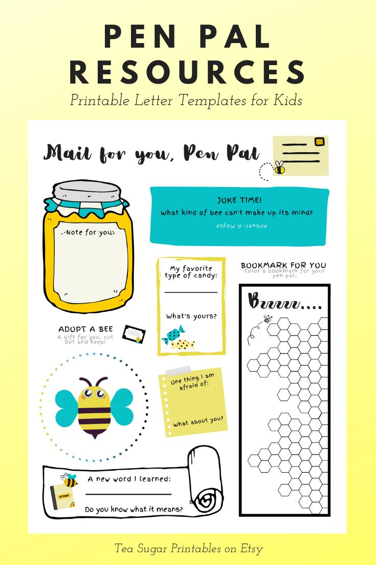 Pen Pal Activity Page for Kids Snail Mail Printable Etsy