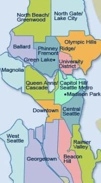 SeattleNeighborhoodMap byMappery1 Offbeat Sightseeing in 5 of Seattle's Best Neighborhoods