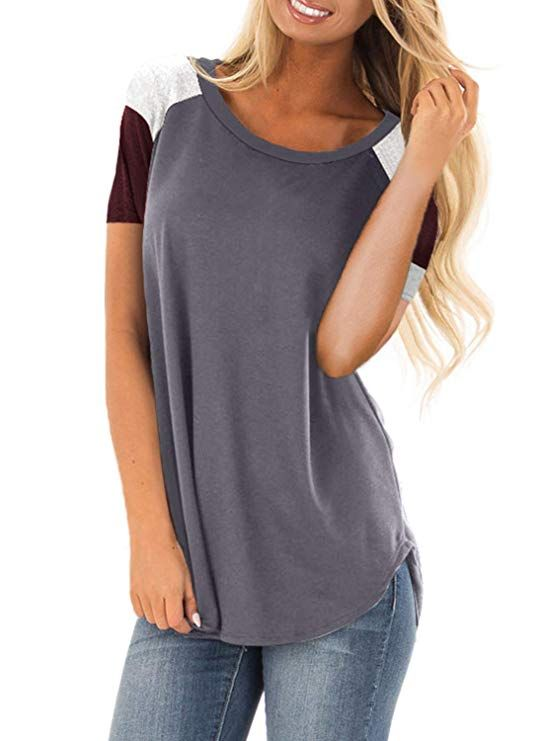 fe0da54968e604 Asvivid Womens Color Block Short Sleeve Scoop Neck Summer T-Shirt Casual  Loose Blouse Tops