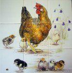 Fliesenplatten, bemalte Fliesen und niederländische Weißweine Albarello – Atelier KK Na …   – Chickens & Roosters