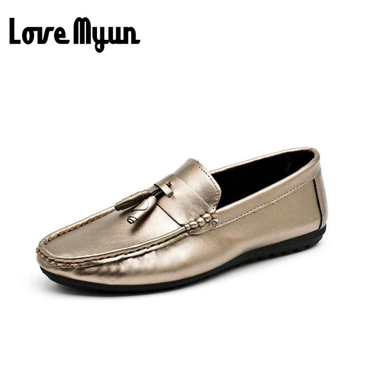 >> Click to Buy <<  Luxury Brand 2017 Designer Flat Driving Casual Shoes Soft Gold Moccasins genuine leather Mens Loafers Leather retro Shoes EE-69 #Affiliate