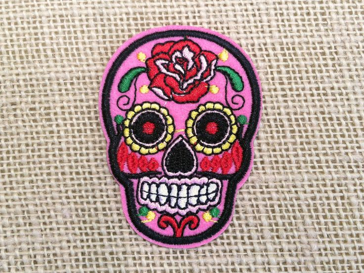 """Sugar Skull Patch Iron On Embroidered Decal - 2"""" x 2.7 ..."""