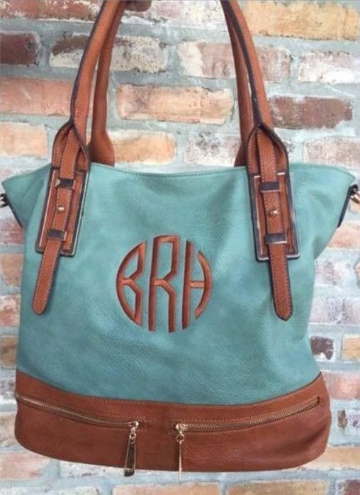 Dusty Mint Monogrammed Purse Handbag, Large Monogram Purse Shoulder Bag, Fall Purse - pinned by pin4etsy.com