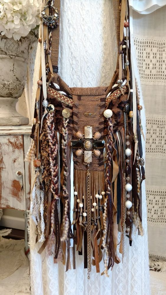Just finished, this fun, cross body, hippie, fringe (front and back), flap bag, with great embellishments including genuine carved bone beads. The fringe on the front and back of the bag is a combination of many shades of genuine suede/leather. | eBay!