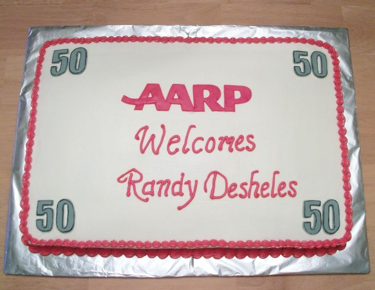 """This is a 50th birthday cake that I was asked to do as a joke with an """"AARP"""" theme. It is a half sheet cake covered in buttercream with fon..."""