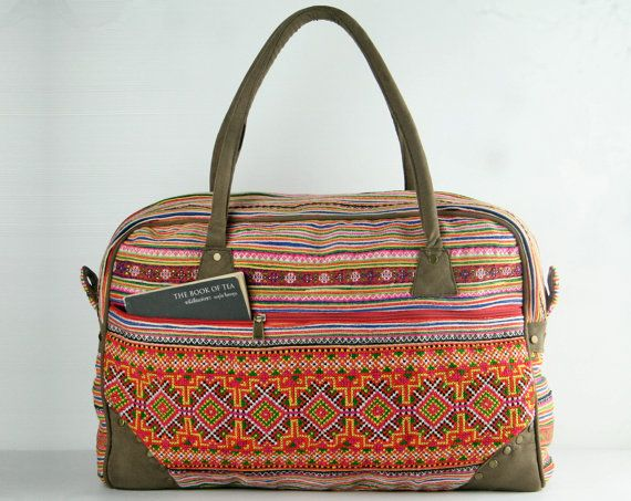 Weekender bag, Overnight bag, Carry-on Luggage, Duffle bag Lightweight Travel bag Gypsy, Boho, Hippie, Ethnic, Tribal Style $55