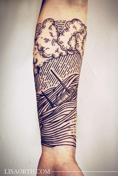 L'océan tatoué sur l'avant bras