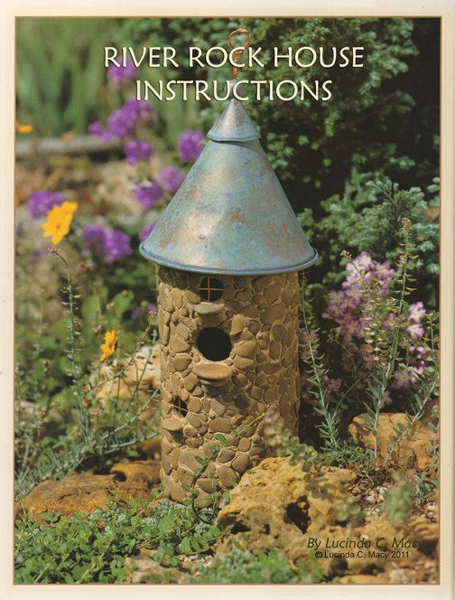 Bird house made from PVC, coated with river rock. A funnel would work for the roof. These were instructions for SALE on Etsy - no longer available - but I hadn't thought of making one of PVC and think that's a brilliant idea, so pinning. This was a for a functional birdhouse, btw. With modifications, could also make a wonderful fairy garden house!  ***********************************************   Willodel via Etsy - #birdhouse #fairy #garden #house t√