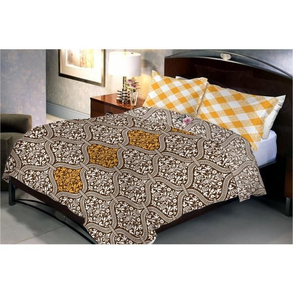 Saddle Brown Bed Sheet has A Dark Brown background With Golden Yellow coloured Design In The Centre. Pillow Covers Are Light Golden Yellow diamond Shaped Strips.