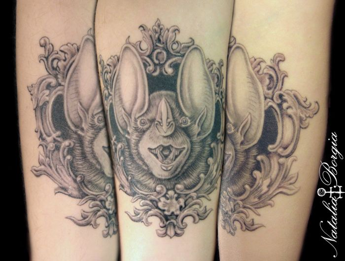 Black and grey bat tattoo with ornate victorian frame on for Bat sleeve tattoo